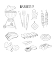 Barbecue Related Isolated Items And Food Hand vector image