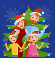 cute cartoon family celebrates the new year vector image