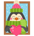 Cute cartoon penguin holding a heart funny winter vector image