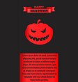 happy halloween poster with silhouette of pumpkin vector image