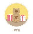 i love you card teddy bear vector image
