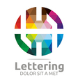Logo Abstract Lettering H Rainbow Alphabet Icon vector image