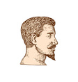 Male Goatee Side View Etching vector image