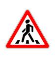road sign warning crosswalk on white background vector image