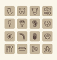 flat icons set of foods outline concept vector image vector image