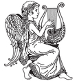 girl angel playing lyre black and white vector image