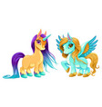 baby unicorn and pegasus with cute eyes vector image