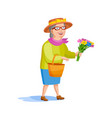 cartoon style old woman vector image