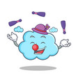 juggling cute cloud character cartoon vector image