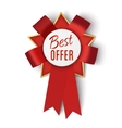 Realistic red award ribbon Badge Best offer vector image