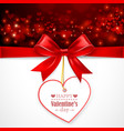 Red bow with heart vector image