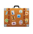 travel stickers on retro leather suitcase vector image