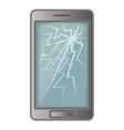 phone with broken screen icon cartoon style vector image