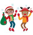 Jolly Santa Claus and reindeer vector image
