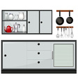 Equipment and furniture in the kitchen vector image