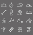 Camping equipment and travel icons set - campsite vector image