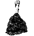 fashionable woman in a lace dress and hat vector image