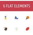 flat icons reward ice boot american football and vector image
