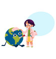girl playing doctor with globe earth planet vector image