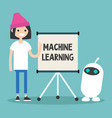 machine learning conceptual young female vector image