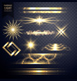 set of light sparkles effect glitters and lens vector image
