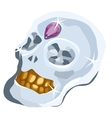 Skull of diamond with amethyst and gold teeth vector image