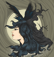 Woman with crow vector image