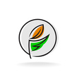 Linear style elegant wheat ear outline logo vector image