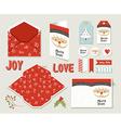 Merry christmas set printable greeting card cute vector image vector image