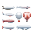 Dirigible Airship White Red Icons Set vector image