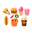 Fast Food Items Set Of Isolated Icons vector image