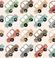 Vintage background with cartoon cars vector image vector image