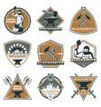 colorful vintage metalworks labels set vector image