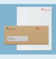 mock-up post envelope and letter paper template vector image