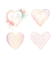 set ombre doodle hearts vector image