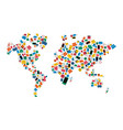 social media network world map icon shape concept vector image
