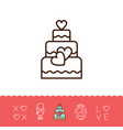 wedding cake icons bride and groom wedding card vector image