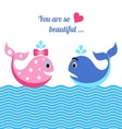 Whales in love vector image