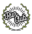 Color vintage run club emblem vector image