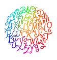 handwritten colorful alphabet vector image