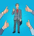 pop art successful businessman gesturing ok vector image