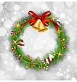 Christmas garland with bells and holly berry vector image