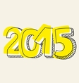 New Year 2015 hand drawn sign vector image
