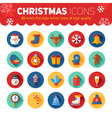 Circle flat Christmas and New Year icons set vector image vector image