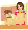 daughter and mother with groceries paper bags vector image