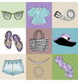stylish fashion set of womans clothes vector image