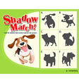 Game template with shadow matching dog vector image