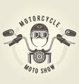 Chopper moto handlebar and vintage helmet vector image
