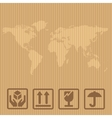 Fragile signs and world map packaging box vector image