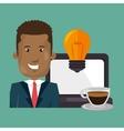 man laptop idea coffee vector image